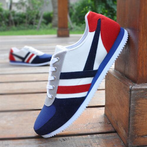2017 New Hot Men Fashion Outdoor Casual Striped Canvas Shoes Male Low Help Lace-up Canvas shoes  size 39-44<br><br>Aliexpress
