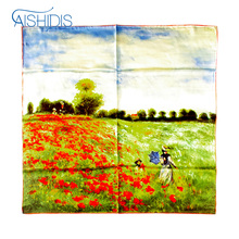 "Women Soft Stain Silk Square Scarf Flower Handkerchief Wraps & Scarves Claude Monet ""Poppy Field in Argenteuil"" Designed(China)"