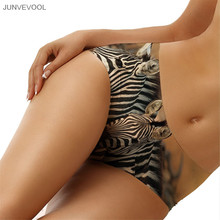 Veste Femme New Sexy Women Panties 3D Zebra Printing Stripe Tattoo Briefs Knickers Beachwear Seamless Shorts Underwear Lingerie