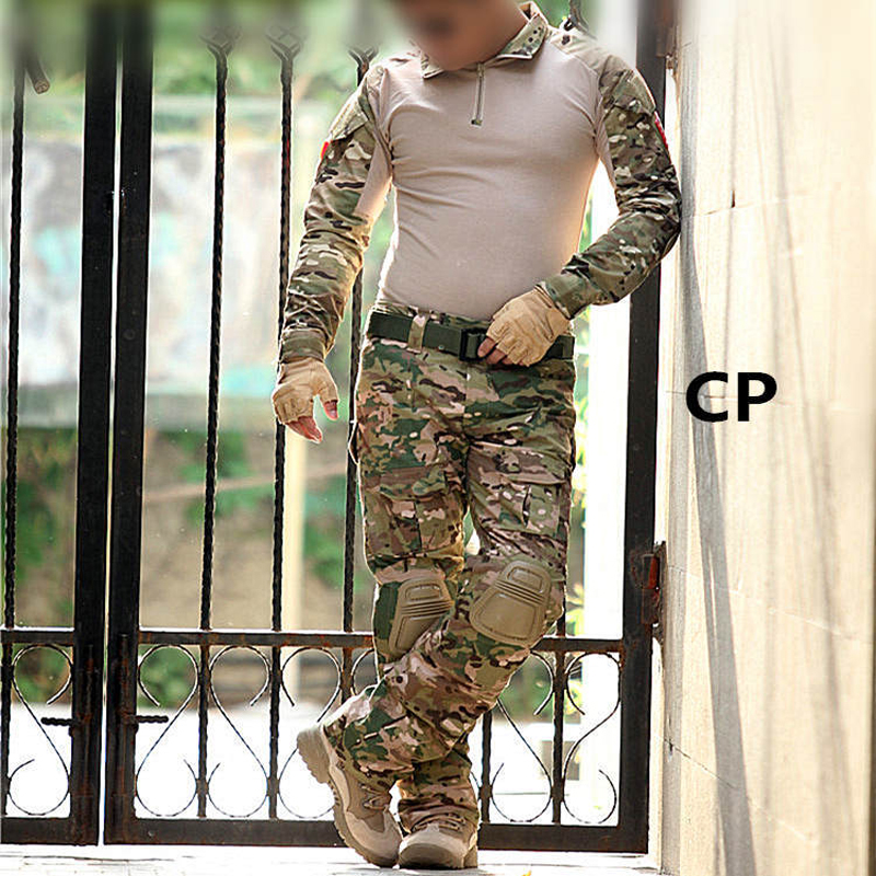 military camouflage US Army CS combat uniform combat shirt and elbow pad Airsoft tactical clothing<br>