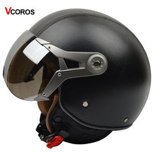VCOROS Genuine Leather Vintage Motorcycle helmet retro Harley moto helmet open face helmet with silver sunny shield M L XL size