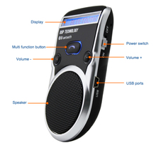 Solar Powered Speakerphone Wireless Bluetooth Handsfree Car Kit For Mobile Phone Hands Free Phone Book Transfer for iPhone 7 G3