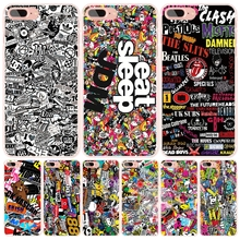 sticker bombing skateboard eat sleep cell phone Cover case for iphone 6 4 4s 5 5s SE 5c 6 6s 7 plus case for iphone 7