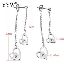 YYW Wedding Lover Jewelry Stainless Steel Split Earring Rhinestone Heart Charm Fringe Tassel Drop Dangle Earrings for Woman(China)