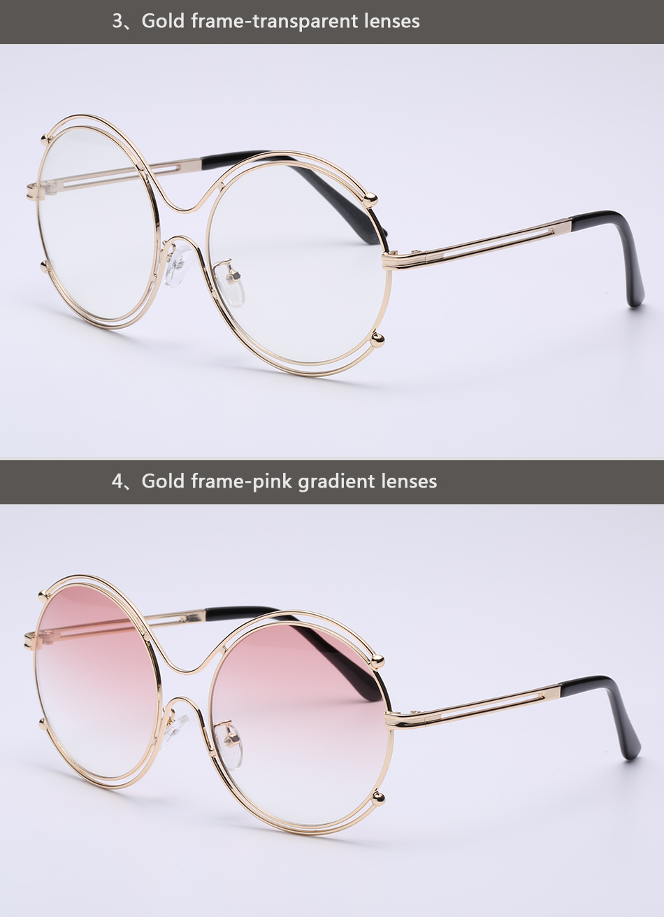 Round Sunglasses Women Fashion Lady Sun glasses Metal Frame Brand Designer Circle Retro Vintage Sunglasses Oculos Goggles