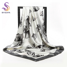 [BYSIFA] Blue Grey Silk Scarf Shawl New Women Accessories Chain Large Square Scarves 90*90cm Spring Europe Brand Scarf Bufandas(China)
