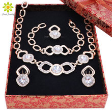 Fashion Classic Design African Gold Color Necklace Set Crystal Bridal Wedding Jewelry Set Dubai Luxury Jewellery Set+Gift Boxes
