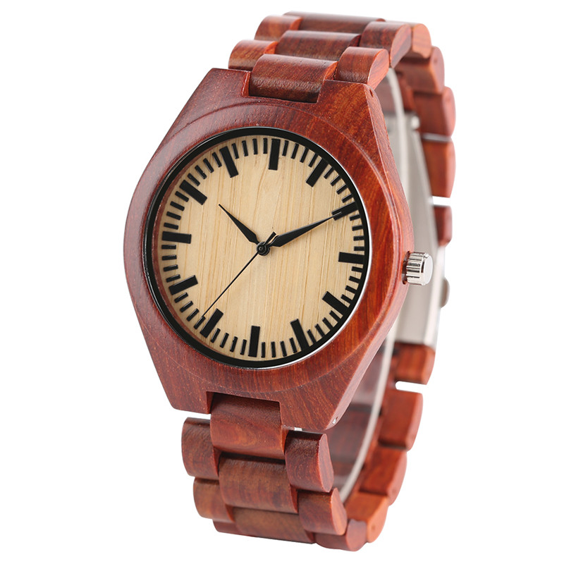 High Quality Mens Quartz Watch Hand-made Red Wooden Bracelet Clasp Watchband Luxury Wood Wristwatch Casual Best Gift for Male <br>