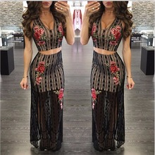2017 Hot Sale Mesh dress Fashion Women Two-pieces Set Celebrity Wear striped lace floral rose Appliques Bandage tank Dress
