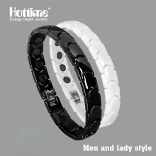 Hottime Black White Bio Elements Energy Ceramic Bracelet Bangle Lovers Magnetic Germanium Health Chain Charms Women Men Jewelry(China)