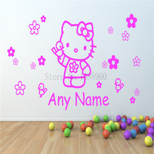 E266 Hello Kitty flowers birds bow Custom name Wall Stickers Home decor DIY poster paper Vinyl Decal Nursery kid Room