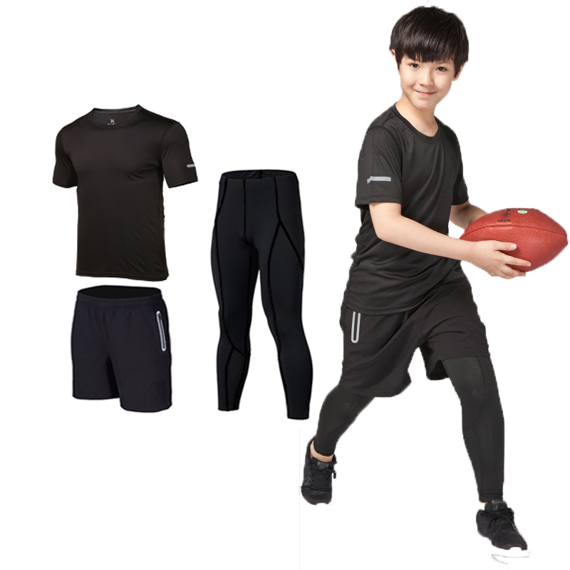 3pcs Kids Compression Running Set Pants Shirts boys clothing Children Sport Suit Sportswear Soccer basketball Rugby jerseys(China)