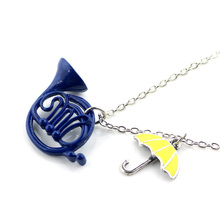 New How I Met Your Mother The Blue French Horn Necklace Pendant Yellow Umbrella With Silver Chain TV Jewelry For Women(China)