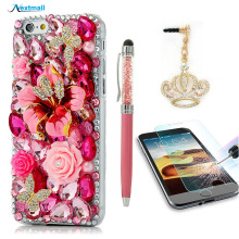 "3D Luxury Bling Diamond Glitter Hard Back Case Cover For iPhone 6 4.7""+Tempered Glass Screen Protector Film+Dust Plug+Stylus Pen"