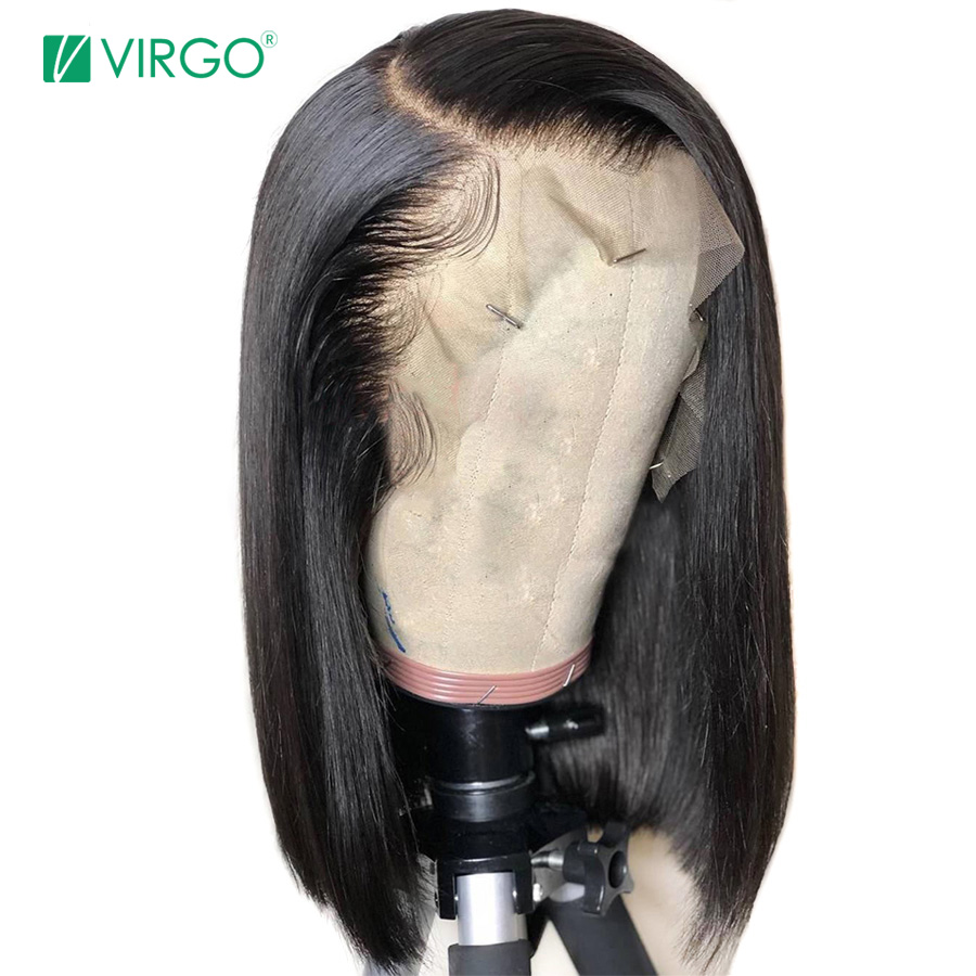Virgo Short Blunt Cut Bob Wig Straight Lace Front Human Hair Wigs For Black Women Pre Plucked With Baby Hair Peruvian Remy Wig(China)