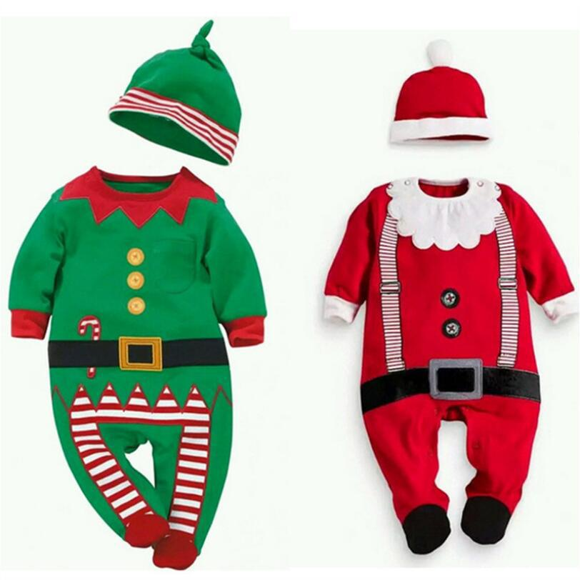 Toddler Christmas Elf Santa Costume Boy Girl Grow Romper Hat Outfits Clothes