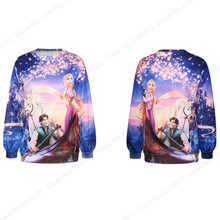 Tangled Rapunzel and Flynn Sweatshirt Purple Space Galaxy Hoodies Autumn Winter Loose Exercise Sweaters Tracksuit Women(China)
