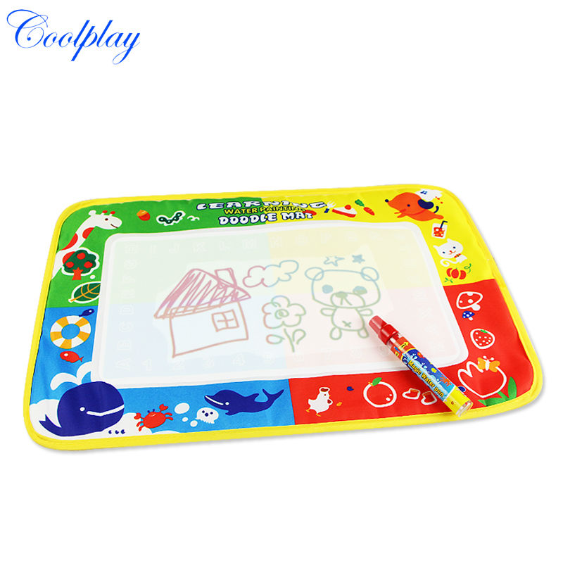 Coolplay 46x30cm Kids Water graffiti Drawing Mat Aquadoodle Mat 1 Pen Drawing board baby play mat for children printing CP1322(China (Mainland))