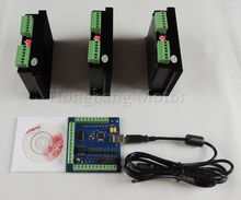 CNC mach3 usb 3 Axis Kit, 3pcs TB6600 1 Axis Driver controller + one mach3 4 Axis USB CNC Stepper Motor Controller card 100KHz(China)
