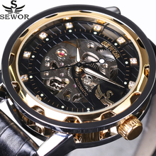 SEWOR Royal Diamond Design Black Gold Mens Watches Top Brand Luxury Male Skeleton Mechanical Hand Wind Watch Fashion Wrist Watch(China)