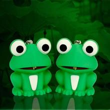 2017 New Cute Cartoon Frog Keychain LED Emit Light & Sound Key Pendant Keyring Kid's Birthday For Women Girl Key Chain Gift D50(China)