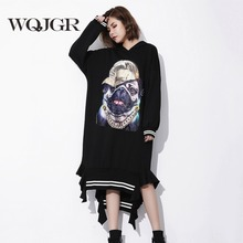 WQJGR Dog Printing Even Hat Pullover Dress Women Irregular Long Fund Autumn Jacket Woman Long Sleeve(China)