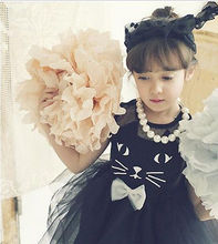 Children Girl Mesh Tulle Tutu Dress Cat Face Black Dress Toddler Baby Dress Linning Kids Hollow Out Tank Dresses For Girl 2-7T(China)
