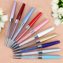 Mini 0.7mm Metal Ballpoint Pen Rotation Colorful Crystal Black Ink Ball Point Diamond Pen Office School Stationery
