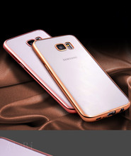Silicon Cover Case For Samsung S7 Plating Clear Transparent Golden Armor Soft TPU Protector For Samsung Galaxy S7(China)