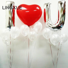 3pcs 40'' sliver alphabet letter+36inch red heart latex love foil helium balloons Valentine day Wedding Decor party supplies