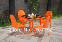 2015 colorful rattan furniture orange dining set