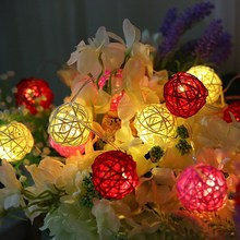 20 Leds Rattan Ball Lights Decoration Party Store diy Wedding Christmas Tree Home decor Supplies