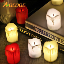 ABEDOE 12pcs Flameless LED Candle Flicker Light Lamp Decoration Electric Battery-powered Candles Yellow Tea Light Party Wedding(China)