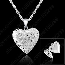 JEXXI One PC Frame Case Picture Necklace 925 Sterling Silver Jewelry Heart Pendant Necklaces +18 inches Singapore Chain(China)