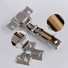 Hot 4PCS 304 Stainless Steel Hydraulic Furniture Hinges Copper Core Damper Buffer Cupboard Cabinet Soft Close Mute Door Hinges(China)