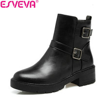 ESVEVA 2018 Women Boots Western Style Ankle Boots Handmade Buckle Synthetic Square Med Heels Round Toe Ladies Boots Size 34-43(China)