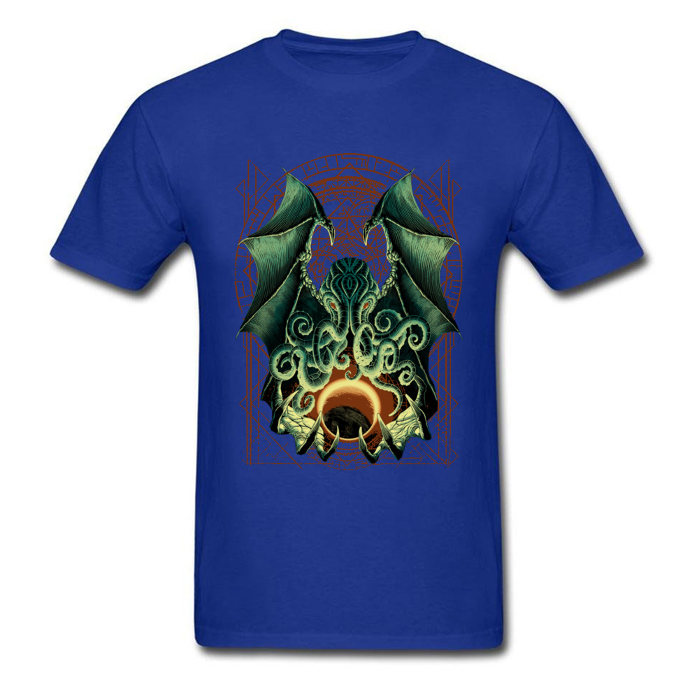Printed CTHULHU-0601 Printed On Short Sleeve Labor Day Tees 2018 Hot Sale Round Neck Pure Cotton Sweatshirts Men T Shirts CTHULHU-0601 blue