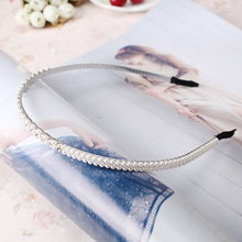 Fashion Handmade Pearls Hairband Hair Accessories Women Rhinestone Hair Hoop Headband Headdress Stylish Girls Wedding Headwear(China)