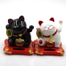 Fashion New Black/White Solar Powered Maneki Neko Welcoming Fortune Cat Lucky For Home Car Hotel Restaurant Decor Craft(China)