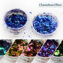 1 Bottle New Sparkling Chameleon Color Nail Designs Mixed Colored Nail Art Glitter Powder Holographic Polish Manicure SABS01-06
