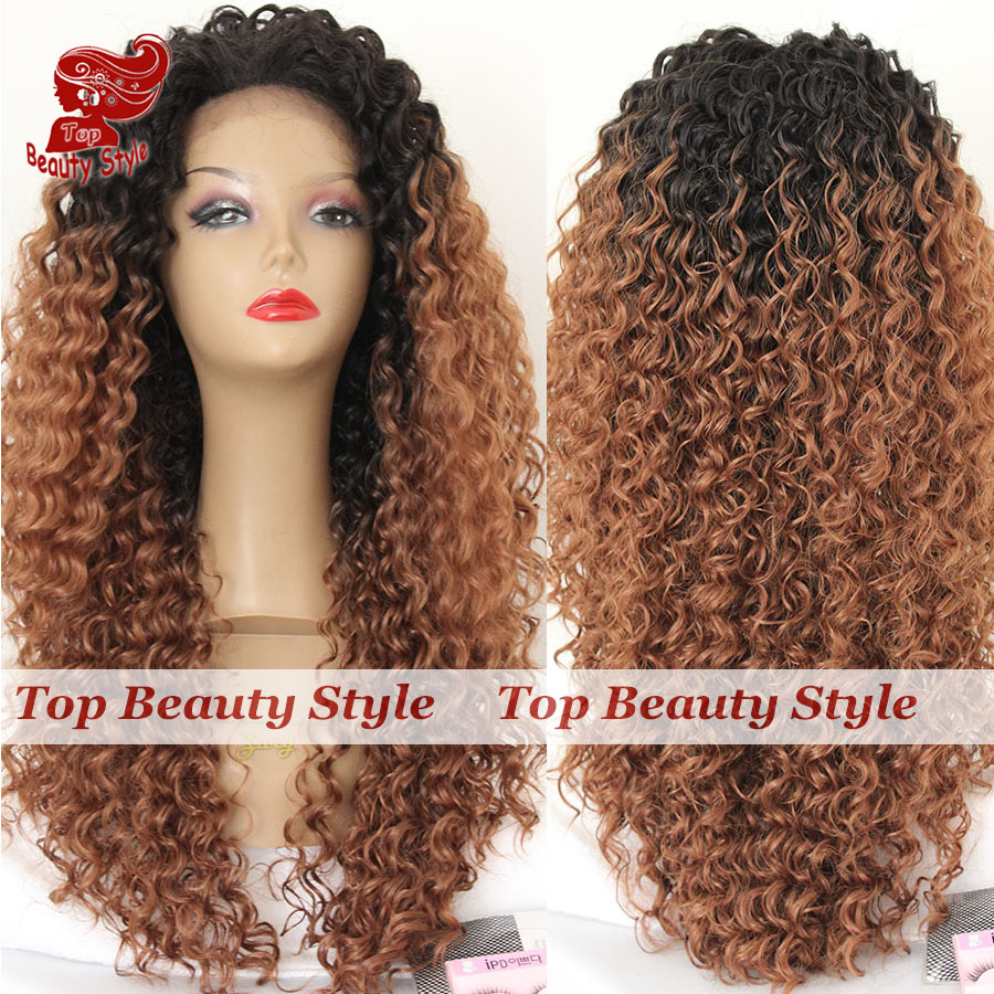 Hot Selling Fashion Ombre Wigs Two Tone Black Brown Color Lace Wigs Long Kinky Curly Synthetic Lace Front Wig For Black Women<br><br>Aliexpress