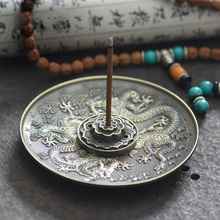 Zinc Alloy Dragon Lotus Incense Burner Holder Joss Stick Tibetan Incense Censer Aroma Sticks Disc Aromatherapy Home Decoration(China)
