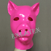 Buy Latex Mask Fetish bdsm Hood Latex Bondage Full head 3D Latex Pig Animal Pink Mask Hood Japanese Fox Mask