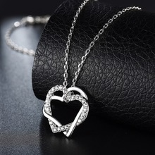 Cross double Heart Pendant Necklaces Silver Color Luxury Rhinestones Chain Necklaces for Women Valentine's Day Gifts Dropship