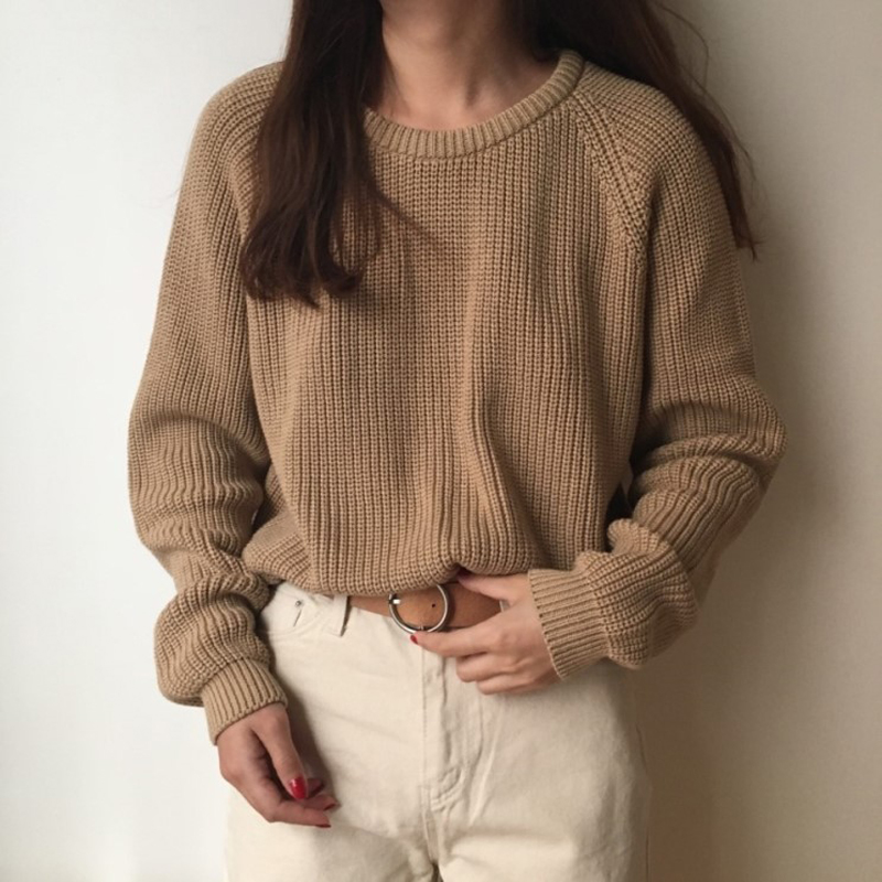 Korean Fashion Ladies Full Sleeve Women Knitting Sweater Solid O-Neck Pullover And Jumper Loose Sweater Hot Sale S809Q 8