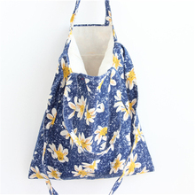 Free Shipping Cotton Women Messenger Bags Blue with Yellow Flowers Women Shoulder Bags Handbags Crossbody Bags S14
