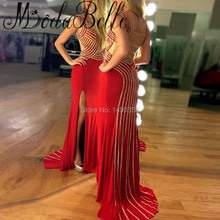 Luxury Black Red Mermaid Prom Dresses Rhinestone Open Leg Long Vestido Sexy Cristal Sparkly Galajurken Formal Gowns Graduation