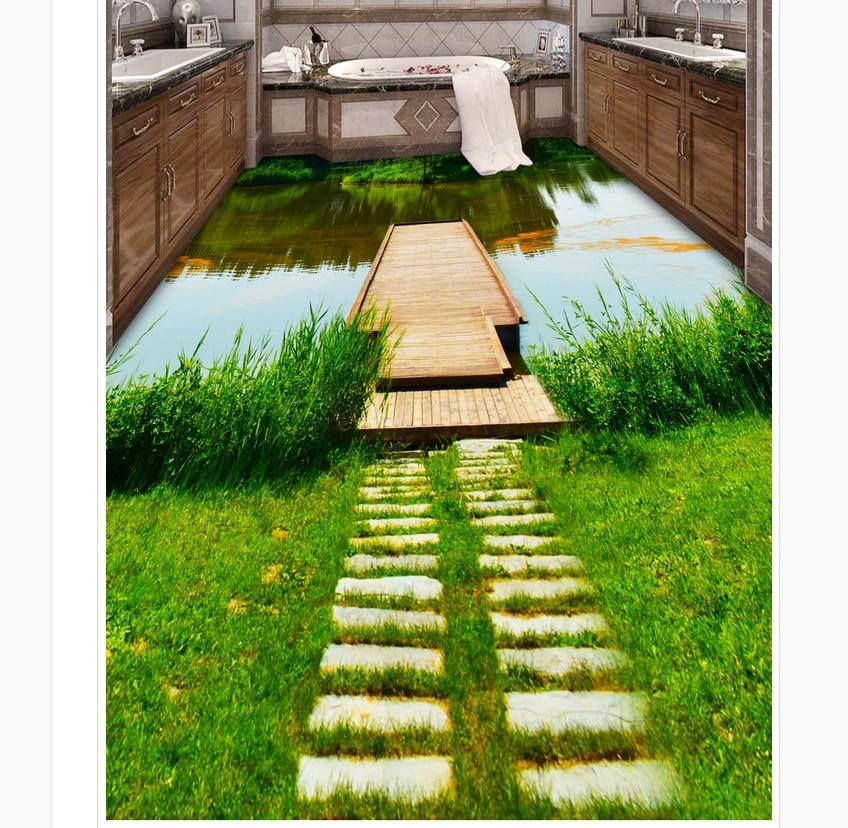 3d customized wallpaper River Boardwalk Washroom Bathroom 3D Floor pvc floor wallpaper floor 3d wallpaper<br>
