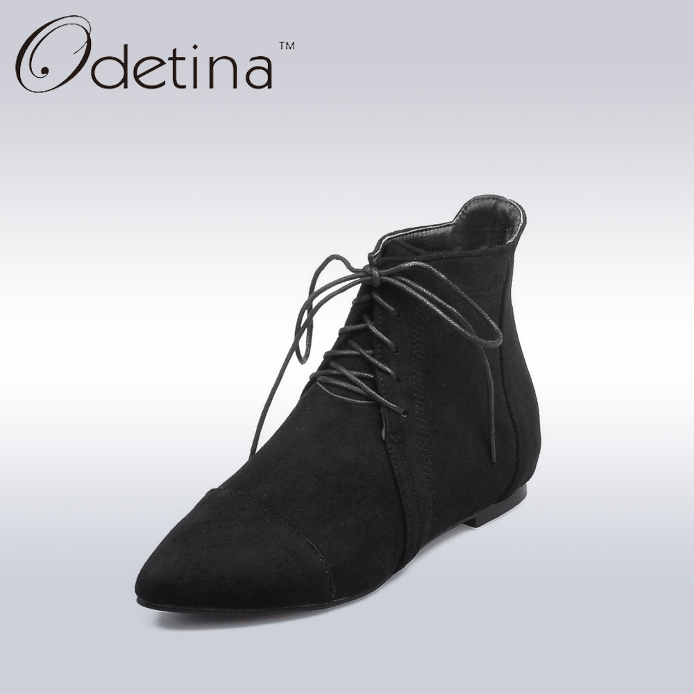 Odetina 2017 Spring Women Lace Up Suede Ankle Booties Ladies Pointed Toe Flat Fashion Shoes Women Non-slip Black Shoes Plus Size<br><br>Aliexpress