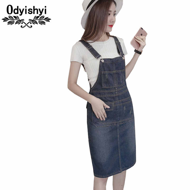 S-5XL Plus Size Denim Dress 2018 Summer Style Loose Strap Jeans Dress  Preppy Suspender 290b18ed2d5b